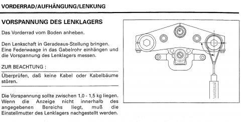 Ausug aus dem Werkstattbuch Honda SC-42 - (Lenker, Prüfung, Lenkkopflager)