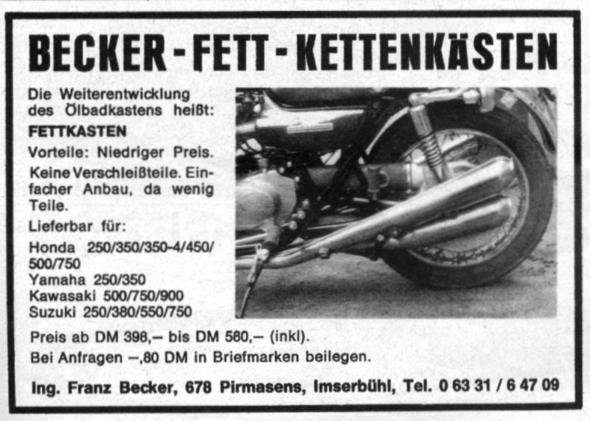 Beckerkatsen - (Verkleidung, Kettenfett)