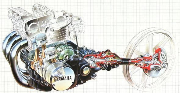 XS 750 Kardan Schnittzeichnung - (Verkleidung, Kettenfett)