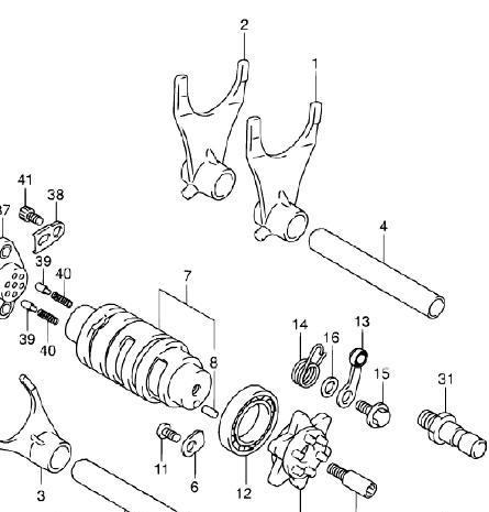 Schaltmechanismus - (SV 1000 s, Getriebeprobleme, Zweiter Gang fehlt)