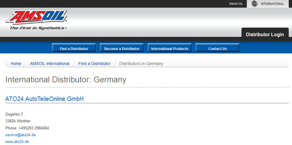 Amsoil International Distributor Germany - (Deutschland, Importeur, Amsoil)