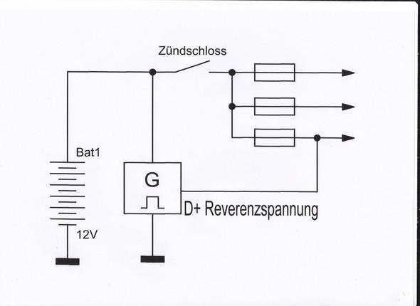 Prinzipschaltung eines trocken laufendem Generator mit Feldwicklung - (Motorrad, Elektrik)