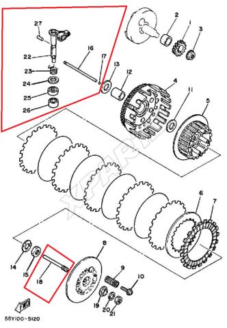 Aufbau Kupplung yz125 / 1985 - (Yamaha YZ, Problem Kupplung Yz125)