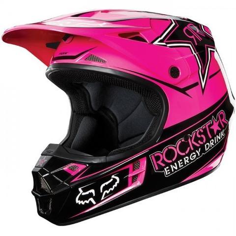 FOX V1 rockstar 13 pink/schwarz  - (Motorrad, Helm, Zubehör)