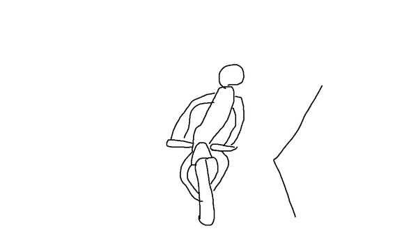 - (Sitzposition, Sitzen, schief)