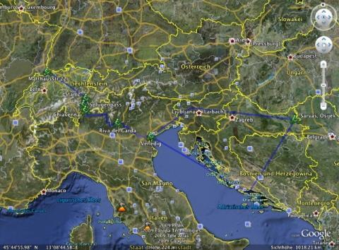 Die geplante Route - (Italien, Kroatien, Fähre)